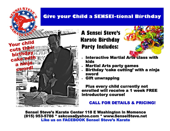 Birthday Party Flyer - Cutting birthday cake with Ninja Sword